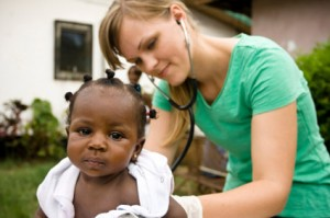 photo of a doctor and child